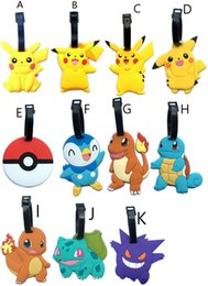 Wholesale 16 Style Pikachu PVC Luggage Tags Travel Suitcase Baggage Label Poke Card Holder Bag Pendant Novelty Toys