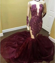 Real Photo 2017 Luxury Burgundy Long Sleeves Prom Dresses Sheer See Through Beaded Crystals O neck Court Train Long Mermaid Prom Dress