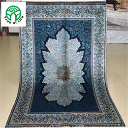 Wholesale 3 x4 Antique Persian Silk Black blue Carpet Hand Knotted Turkish Oriental Rugs Houston for Living room