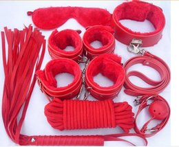 Promotion fouets bouche gags Sex Toy Leather Bondage Restraint 7 Pcs / Set Fetish Whip Rope Blindfold Poignets Collier Mouth Gag Bondage Kit Q