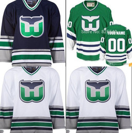 2017 Cheap Custom Hartford whalers Hockey Jerseys Customized All Stitched Any Name Any Number Green White Blue Men Women Youth Size XXS-6XL