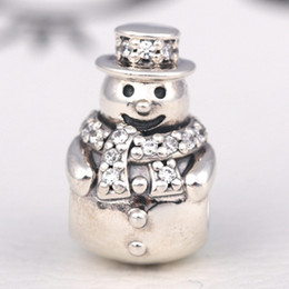 Wholesale Clear Glass Cube Beads - 2016 Christmas 100% S925 Sterling Silver Snowman Charm Bead with Clear Cz Fits European Pandora Style Jewelry Bracelets & Necklace