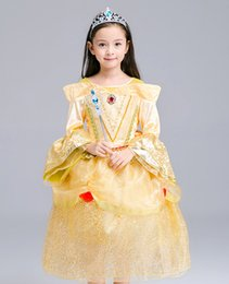 Wholesale The best Princess Dress Sleeping Princess Aurora Long Sleeve Dress Girls Color Lace Party Birthday Belle Princess Dresses Xmas Gift WX D08
