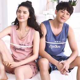 Leisure Summer Women Sleepwear Cotton Couple Pajamas Sets Sleeveless  Nightwear Lady Pyjamas Male Home Clothes Female Pijama Suit f48d02872