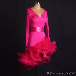 A112 New Adult Latin Dance Dress Salsa Tang Cha cha Ballroom Competition Group Dance Dress with belt S-XXL Customizable