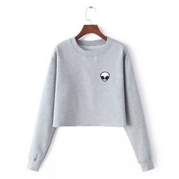 Wholesale Cropped Hoodies Wholesale - Fashion Lady Sweater Alien Printed Long-sleeve Hoodies for Girl Tee Blouse Women Crop Top Women Clothing coat