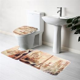 Wholesale Soft Toilet Cover Bath Bathroom Carpet Mat Set Pattern Eiffel Tower in Paris Contour Pedestal Rug Lid