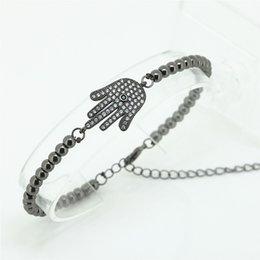 Lien pour perles à vendre-1PC Nouvelle Marque Anil Arjandas Hommes Hamsa Bracelet, Micro Tone Noir Pavé Cristal CZ Connector Perles Briading Hommes Bracelet Chaîne Lien