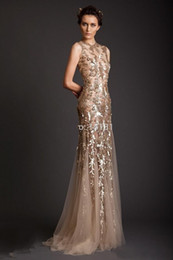 2019 New Sexy Mermaid Sheer Crew Gold Applique Evening Gowns Tulle Prom Dresses Krikor Jabotian New Arrival Evening Dresses 040