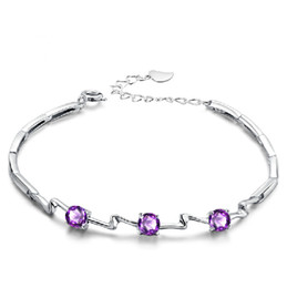 high quality beautiful new handmade girls bracelet 925 sterling silver purple zircon jewelry buy from China