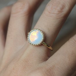 Wholesale classical round opal ring June birthstone jewelry dainty ring fashion inspired charm young lady gift idea