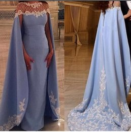 Light Blue Lace Appliqued Long Prom Dresses 2019 Saudi Arabia Formal Party Gowns African Evening Dresses Sexy Dubai Pageant Celebrity Gowns