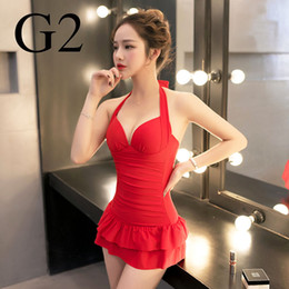 Wholesale Conservative Skirts - Hot spring bathing suit the conservative skirt siamesed to gather a large chest small chest steel holder cover belly thin sexy backless swim