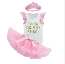 Wholesale 2017 new arrivals baby girl Valentine s Day series wing romper pieces set high quality cotton kids sleeveless romper tutu skirt headband