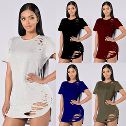 Casual Womens O-Neck Hollow Cut Out Hole Plain Ripped Distressed Tops Ladies Short Sleeve Blouse Pullover T-Shirt Alternative Shirt Tee