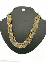 2017 new Whlesale Handmade Chunky Chain Bid Choker Braid Two Tone three kind of Chain mixed metal Necklace