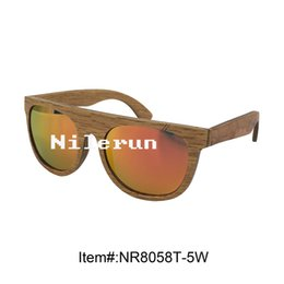 UV400 polarized mirror orange lens wood frame sunglasses