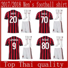 2017AC Milan home Soccer Jersey 2017 2018 AC Milan Soccer Shirt Customized #10 CALHANOGLU #9 ANDRE SILVA football uniform Sales size S-XL