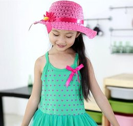 Fashion Summer Sun Hat Girls Kids Beach Hats Bags Flower Straw Hat Cap weave Tote Handbag Bag Suit fit 1-6 Years Children sunhat