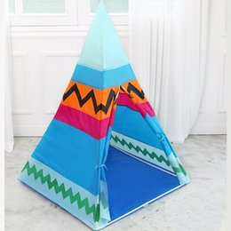 Wholesale Indian Style Children Teepee Toy Kids Play Tent Canvas Teepee Colorful Playhouse for Baby Room Tipi Outdoor House