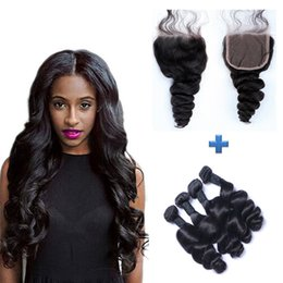 Resika Best Hair Products 100g pc 4bundles with 4*4 Lace Closure Natural Color Loose wave 100% Brazilain Curly Human Hair Weave