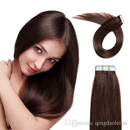 Hot selling remy human hair extensions 20pcs PU skin weft Silky Straight tape in hair extensions free shipping multi color 16 inch
