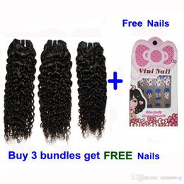 Wholesale Brazilian virgin remy human hair weave water wave hair extensions double weft quot natural color got free nails Quercy Hair