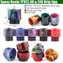 Wholesale Epoxy Resin drip tips Colorful Wide Bore dripper tip Mouthpiece for Smok TFV8 TFV12 Big Baby Tank Kennedy AV24 RBA atomizer Package DHL