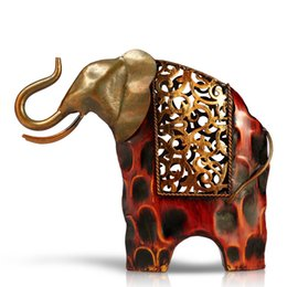 Wholesale TOOARTS Carved iron art elephant Metal animal sculpture Home furnishing Articles Home Garden A004