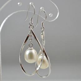 Freshwater Pearl dangling Hoop Long Drop Earrings