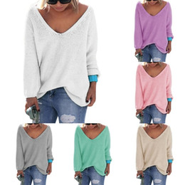 Wholesale Womens Cute Elegant V Neck Loose Casual Knit Sweater Pullover Long Sleeve Spring Sweater Tops sueter mujer