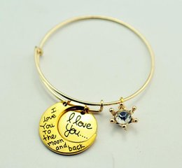 Wholesale 2017 New Alex And Ani Trade Hot I Love You To The Moon And Back Pendants Bracelets TOP1446Z