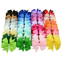 40 Colors Baby Grosgrain Ribbon Bows WITH Clip Girls' Boutique Pin Wheel Hair Clip Kids Hair Accessories