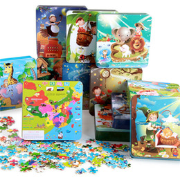 Wholesale 12styles cartoon Wooden puzzles Animal Amusement Park iron box pack portable puzzle toys Children s great gifts EMS DHL free