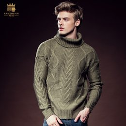 Wholesale New Male Men s Casual Fashion Winter Loose Slim Fit Turtleneck Twist Insulation Sleeve Thread Knitted Sweater