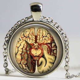 Wholesale Steampunk Jewelry Anatomical brain necklace pendant Gothic necklace science pendant biology medical student gift