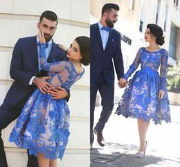 Wholesale 2017 Royal Blue Evening Dresses Long Sleeves Knee length D Floral Appliques Formal Gowns Arab Dresses HY00866