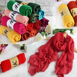 Foulards en coton de marque de gros en Ligne-Vente en gros-180 * 80 CM Mode 2016 Nouvelle marque Designer écharpe Femmes en coton d'hiver mélangé Solid Echarpes Foulards Femme Foulards 99633
