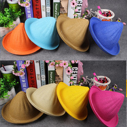 Spring Summer Children Straw Spire Hats Fashion Candy Color Boys Girls Kids Baby Sun Hats Outdoor Top Hats Performance Wizard Hat KIDS-13