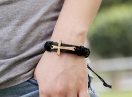 Men and women with pure handmade verse to cross Pendant leather bracelet head layer cowhide leather cord bracelet alloy