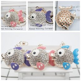 New Cute Fish Key Chain Car Key Rings Chain Alloy Crystal Pendant Multicolor Fish Keychain Gift Jewelry