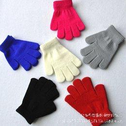 6 Gants d'enfants de couleur tricotant gants chauds garçons d'enfants Filles Mitaines Cartoon unisex Couleur unie Gants de doigt séparés B à partir de garçons doigt moufle fabricateur