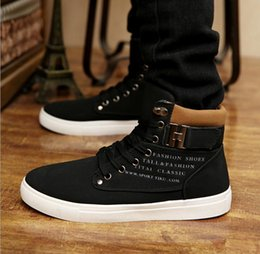 Wholesale 2016 New Men Shoes Casual Shoes Lace up Flat Heel Canvas Shoes Fashion Cotton Men Buckle Thermal Casual High Top