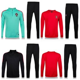 Wholesale Top Thailand soccer tracksuit PORTUGAL long sleeve Training suit pants football training clothes sports wear mens Sweater