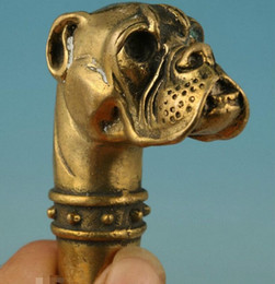 free shipping Gothic Old Brass Handmade Carved dog Collect Statue Cane Walking Stick Head Orna Copper Brass crafts decoration