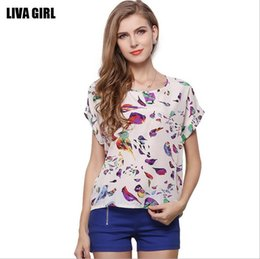 Wholesale 2017 Fashion Summer Women Plus Size O-neck Loose Short Sleeve Batwing Chiffon Shirt White Woman Casual Printed Blouse T-shirt