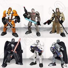Descuento películas de acción Nuevo 6 estilo 7inch Star Wars figura de acción Darth Vader Stormtrooper PVC película de dibujos animados Bloque Juguetes Regalos para niños CCA5403 50pcs