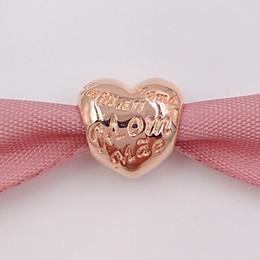 Corazón del oro de la pulsera 925 en venta-Auténtico 925 cuentas de plata Corazón Rose encanto con la mamá en diferentes idiomas Se adapta a Europa Pandora estilo joyas pulseras 781112 Oro plateado