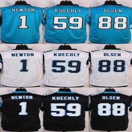 Descuento soltar la leva Camisas cosidas Newton # 59 de los hombres # 59 Luke Kuechly # 88 Greg Olsen Azul / blanco / los jerseys negros cosieron el nombre y la orden de la mezcla del envío de la gota de la insignia