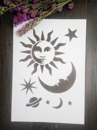 Drawing stencil for kids -wholesale laser cut stencils Masking template For Scrapbooking album drawing and more-Vintage star moon sun 134